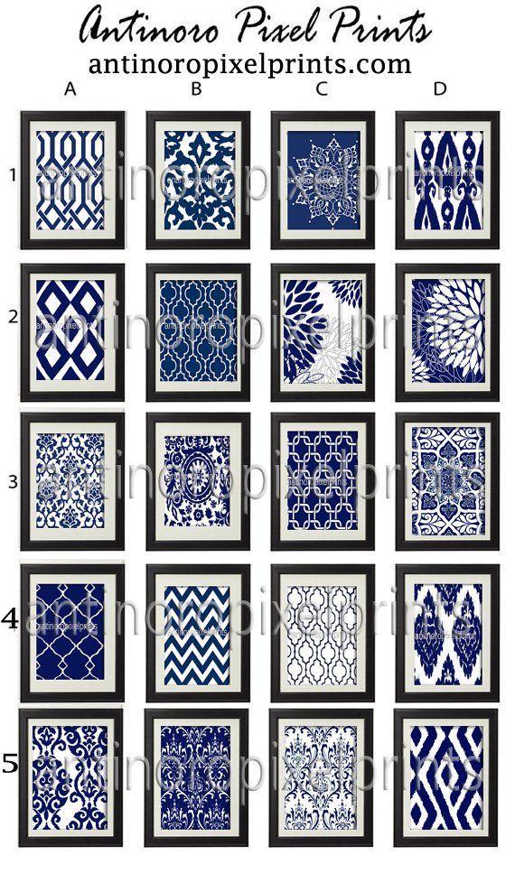 Bedroom 10x10 Size: Paisley Ikat Damask Navy Blue Prints 6 10x10 Prints C By