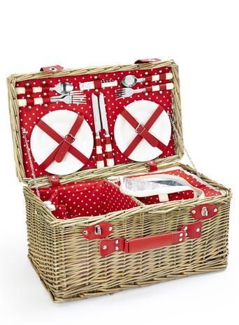 Polka Dot 4 Person Picnic Basket With Cool Bag - BHS