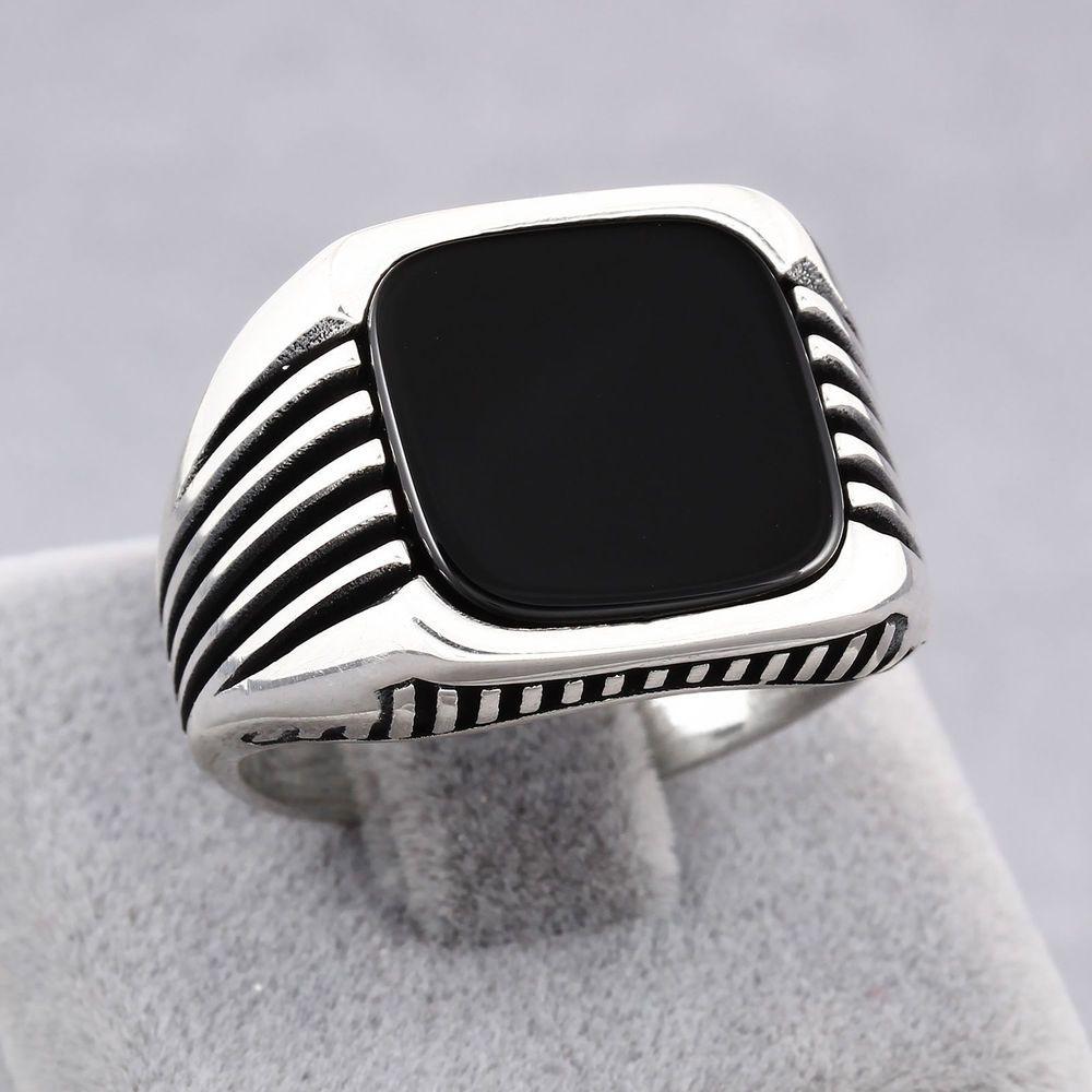 Oval Noir Onyx Bague Argent Sterling 925 Design élégant Toutes Tailles US 4 To 10