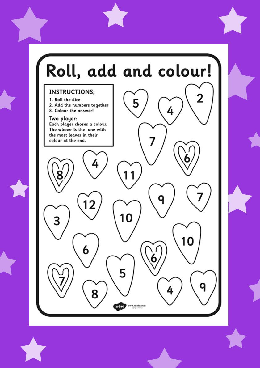 Roll, add and colour! Free valentines worksheet > http://www.twinkl ...