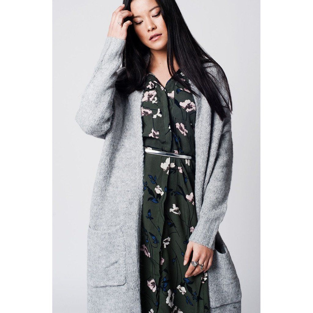 Grey longline open front cardigan with pockets | Open front ...
