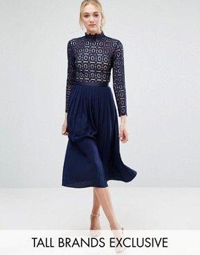 Little Mistress Tall Long Sleeve Lace Top Pleated Midi Dress