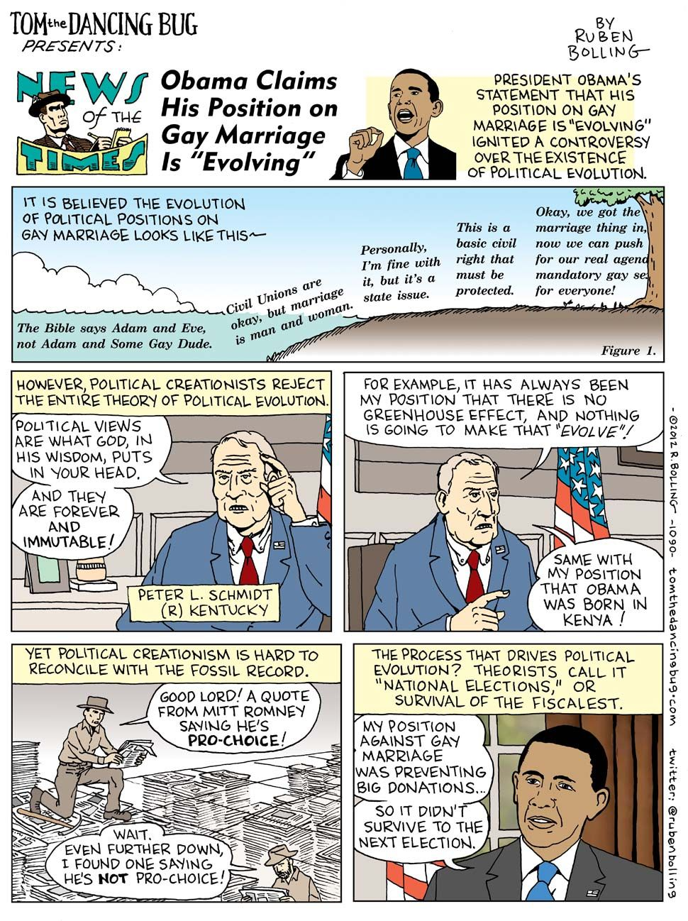 "TOM THE DANCING BUG: Obama Sparks Creationism Controversy With ""Evolution"" of His Gay Marriage Position - Boing Boing"