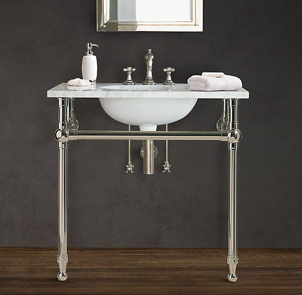 Images On GRAMERCY SINGLE METAL WASHSTAND with stainless steel tubing and italian carrara marble top by Restoration Hardware