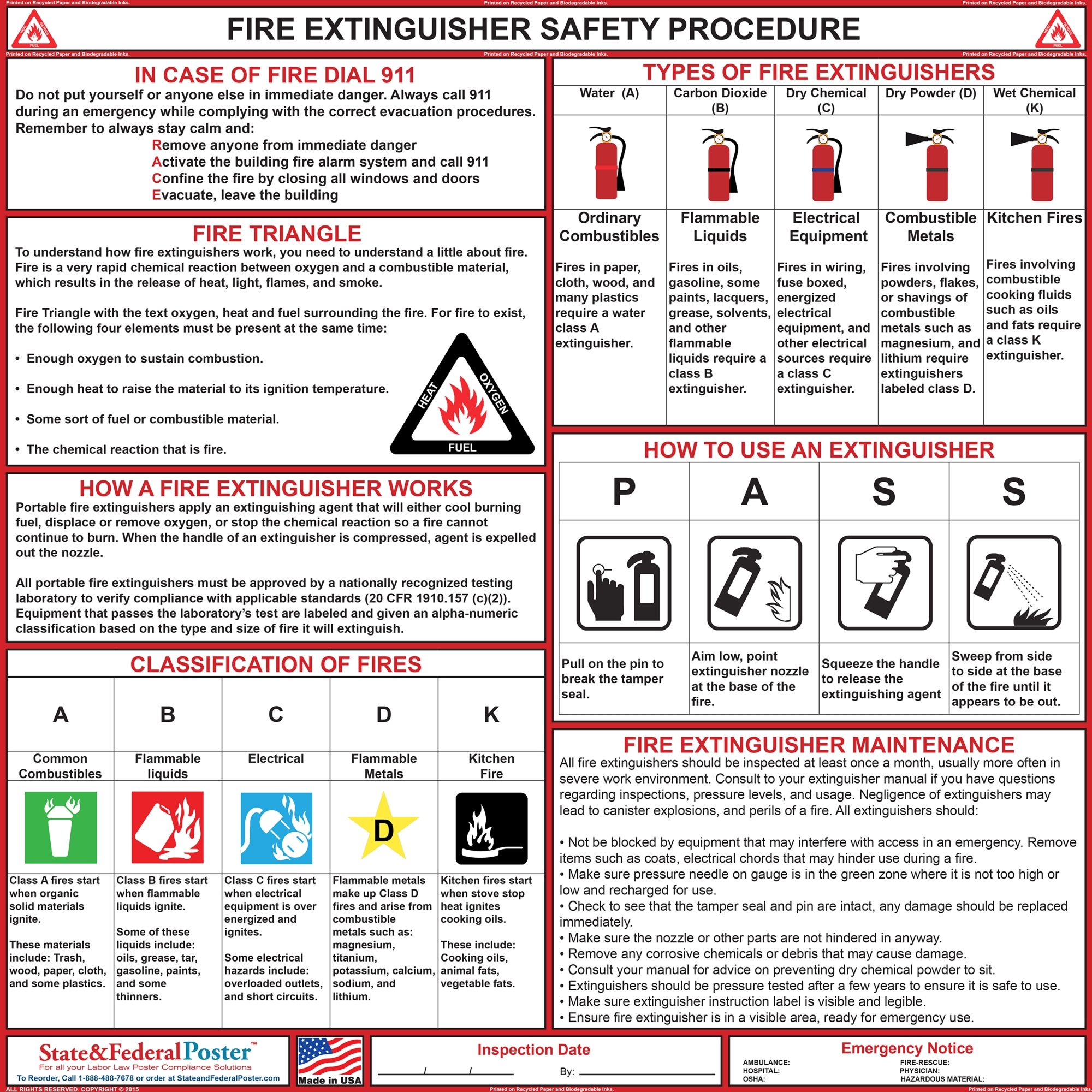 Fire Safety Extinguisher Poster