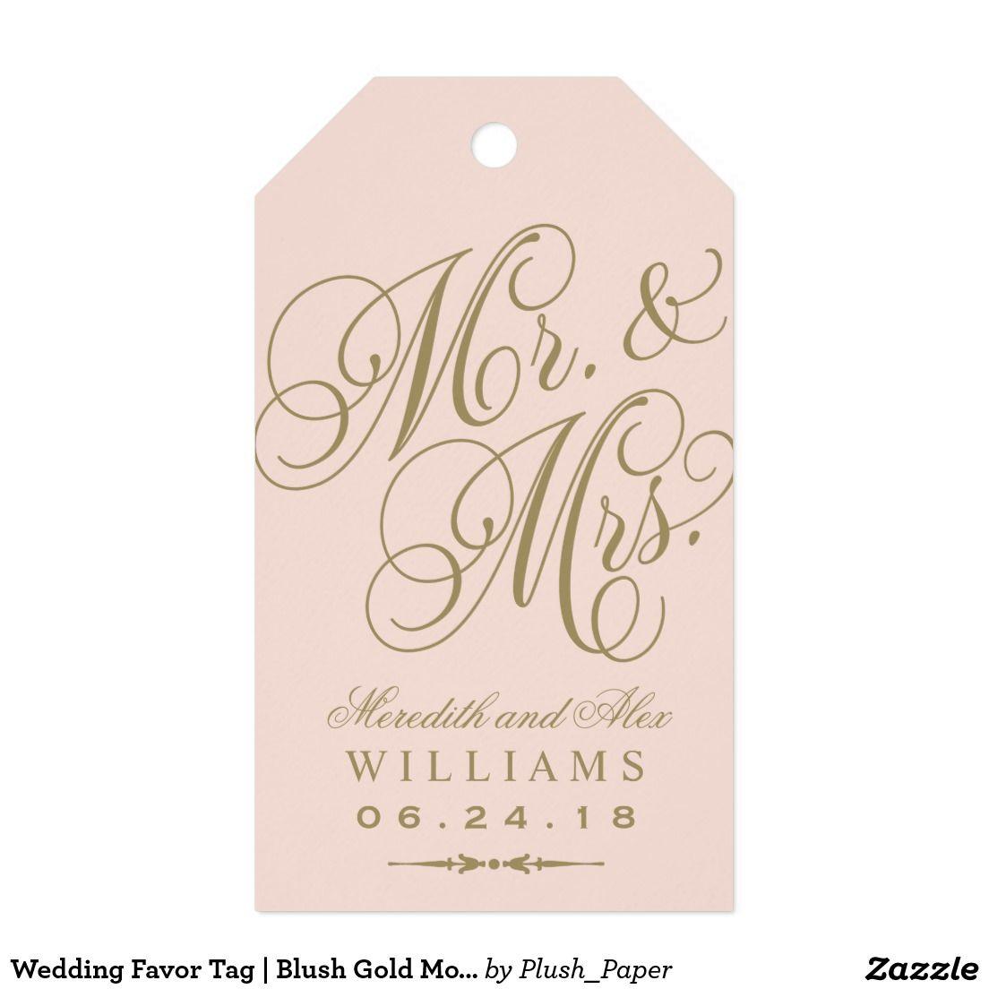 Wedding Favor Tag   Blush Gold Monogram   Wedding favor tags ...