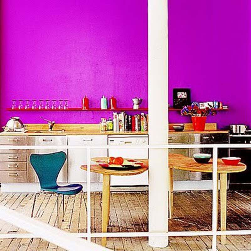 Kitchen With Vibrant Wall at Modern And Colorful Kitchen Design Ideas