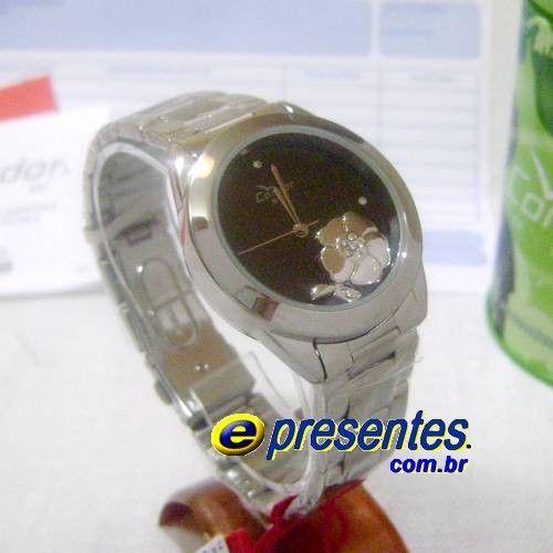 46d77d5a629 KW25739P Relógio de Pulso Feminino Condor Pingente Flor de Stras ...
