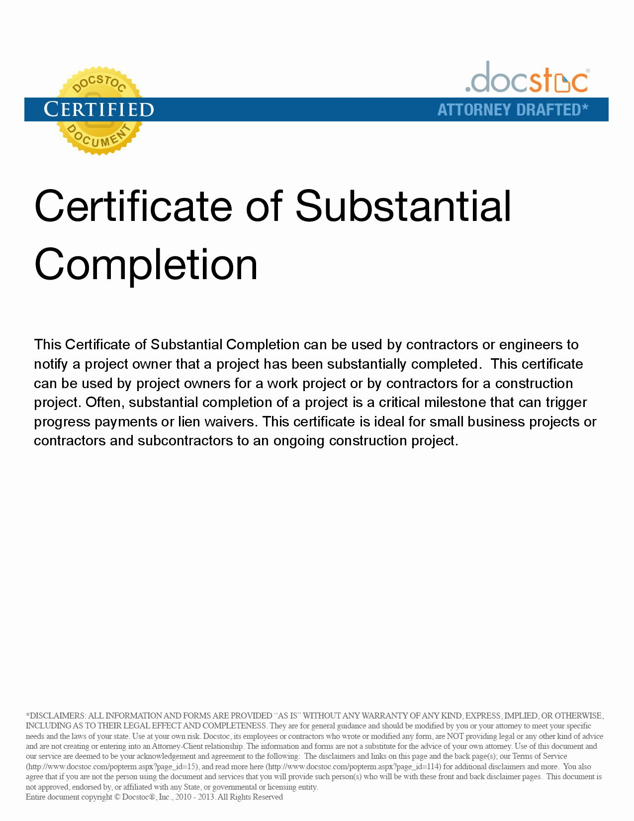 20 Certificate Of Substantial Completion Template ™ in
