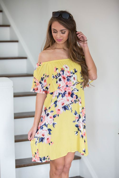 affaf8c76d86 ... the shoulder dress is perfect for dancing on the beach or enjoying a  fun afternoon with friends! We love the vibrant floral print in yellow