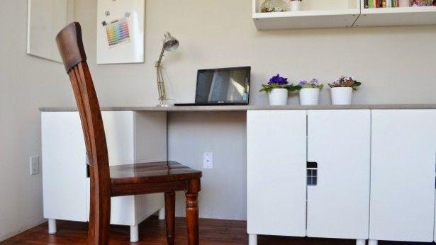 Ikea hack bureau met betonnen werkblad workspace