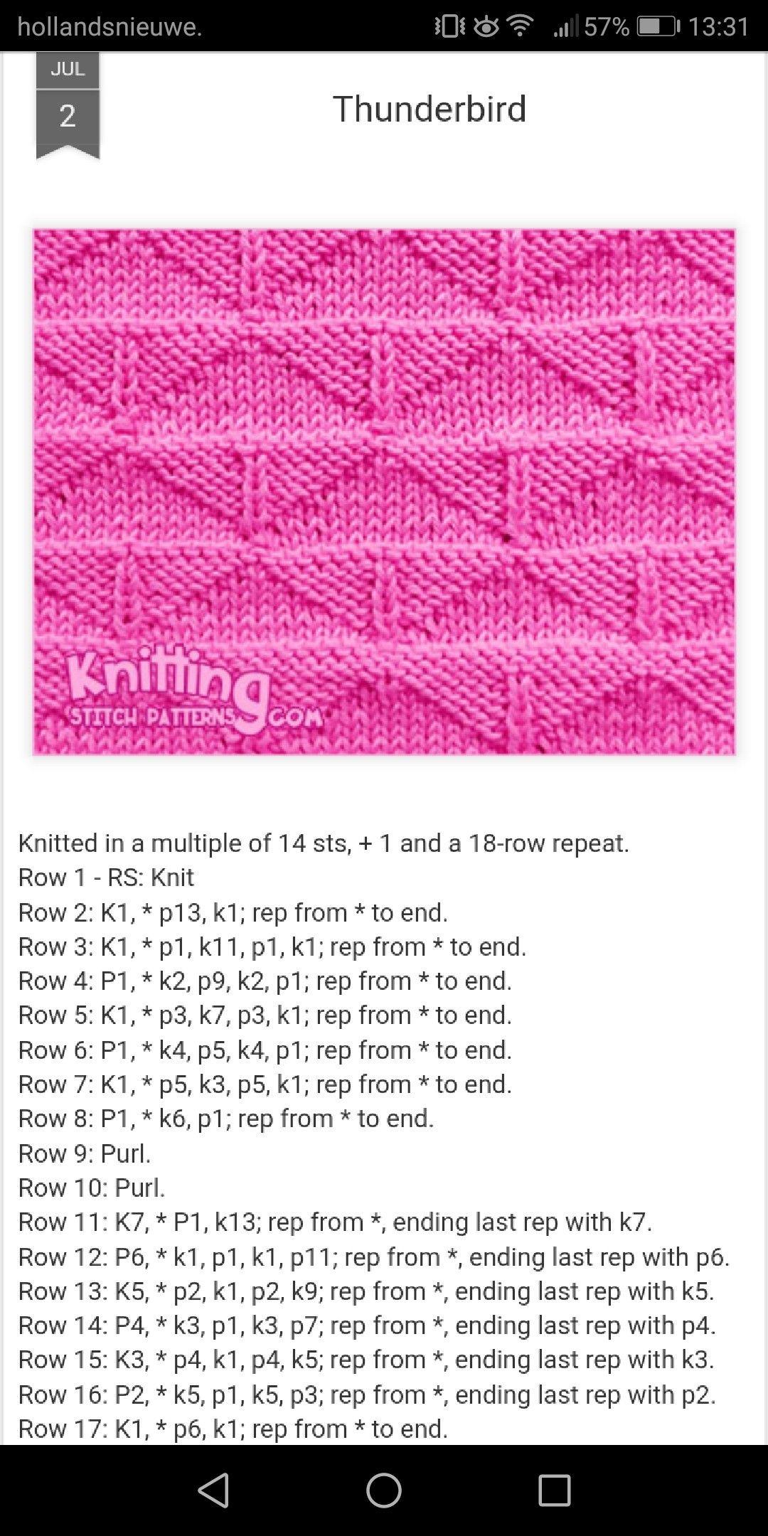 Thunderbird stich knit | DOS AGUJAS | Pinterest | Agujas, Tejidos y ...