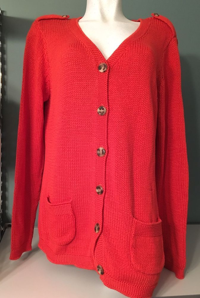 Details about Talbots Red Orange Rust Chunky Knit 100% Cotton ...