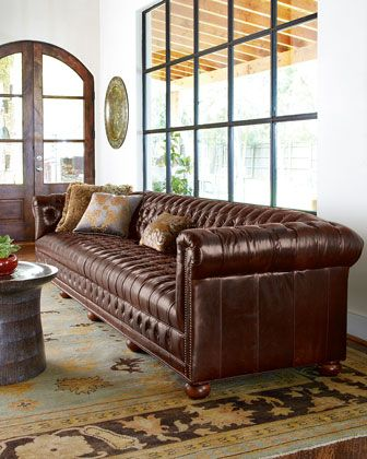 Genial Extra Long Tufted Leather Sofa.