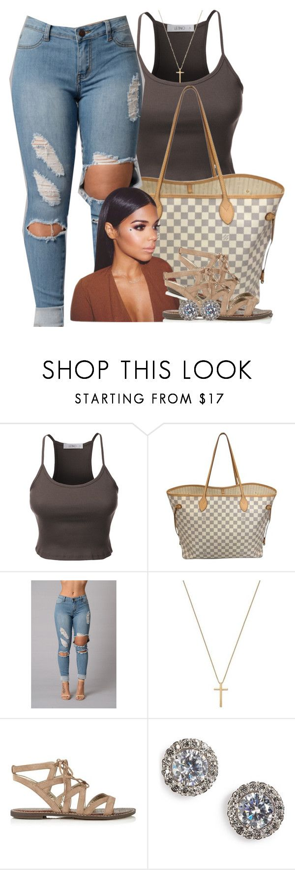 """""""Untitled #493"""" by princess-miyah ❤ liked on Polyvore featuring LE3NO, Louis Vuitton, Gucci, Sam Edelman and Nadri"""