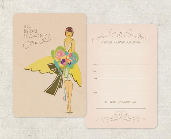 Bridal Shower Invitations Art Deco and Pink Vintage by GoGoSnap $30/30 printed ; could ask for red hair on bride