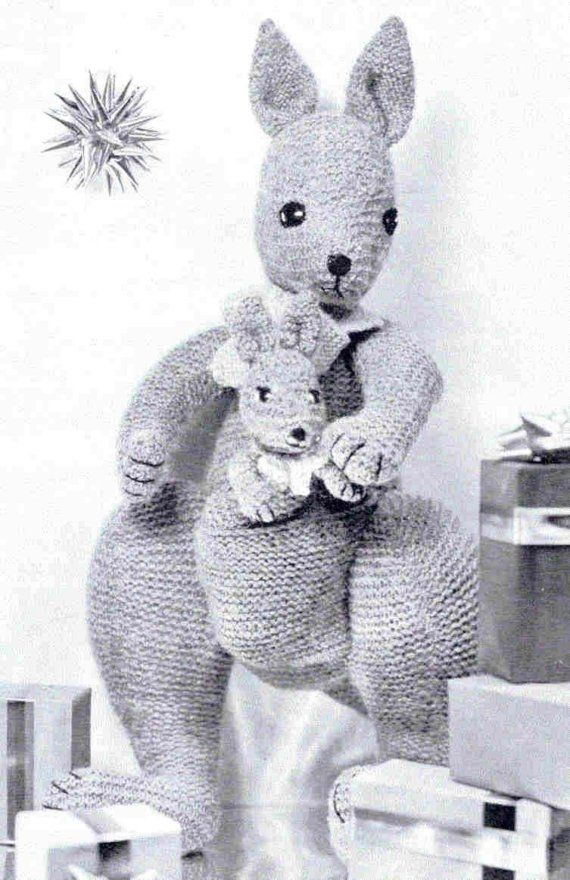 Toy Vintage Knitting Pattern Kangaroo Kanga and Roo Mother and her ...
