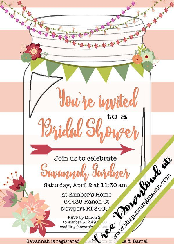 Free template for a mason jar invitation - perfect for a southern - free printable wedding shower invitations templates