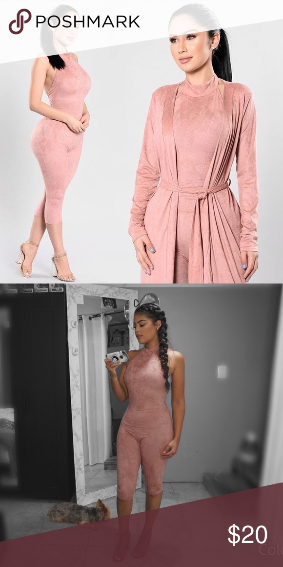 """acc9c3c5f699 Maybe one piece Worn once mauve """"shattered glass jumpsuit"""" Suede material.  Low back Fashion Nova Other"""