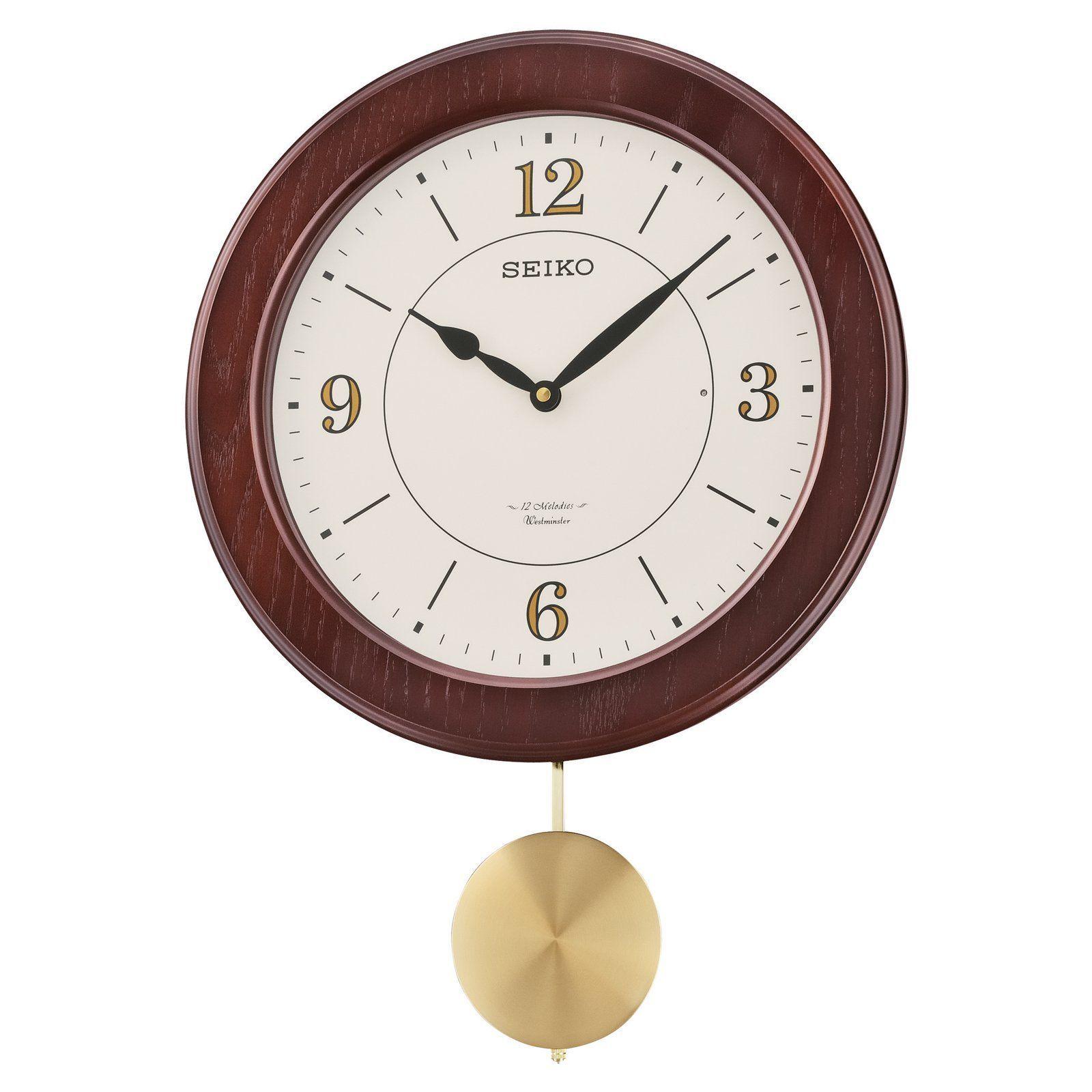 Seiko Dark Brown Musical Wall Clock 15 50 In Wide From Hayneedle Com Pendulum Wall Clock Clock Christmas Clock