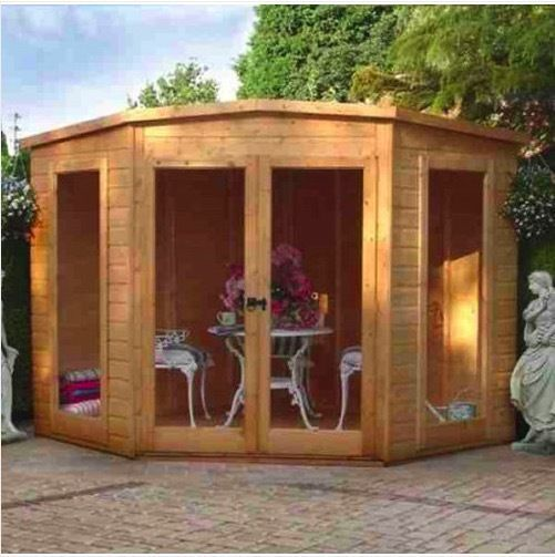 wooden garden corner summer house modern shed log cabin 7x7 summerhouse in garden patio - Corner Garden Sheds 7x7