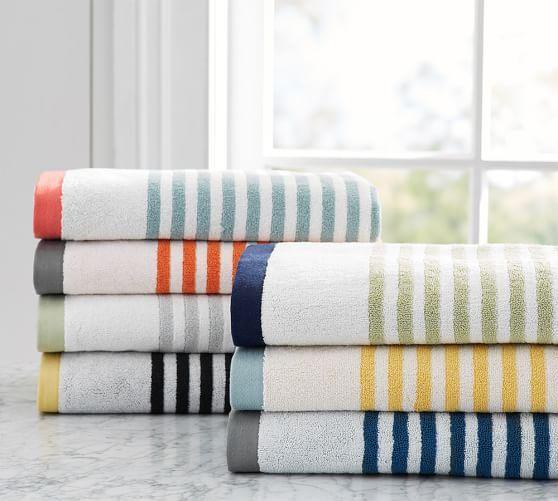 Marlo Stripe Organic Bath Towels With Images Striped Bath