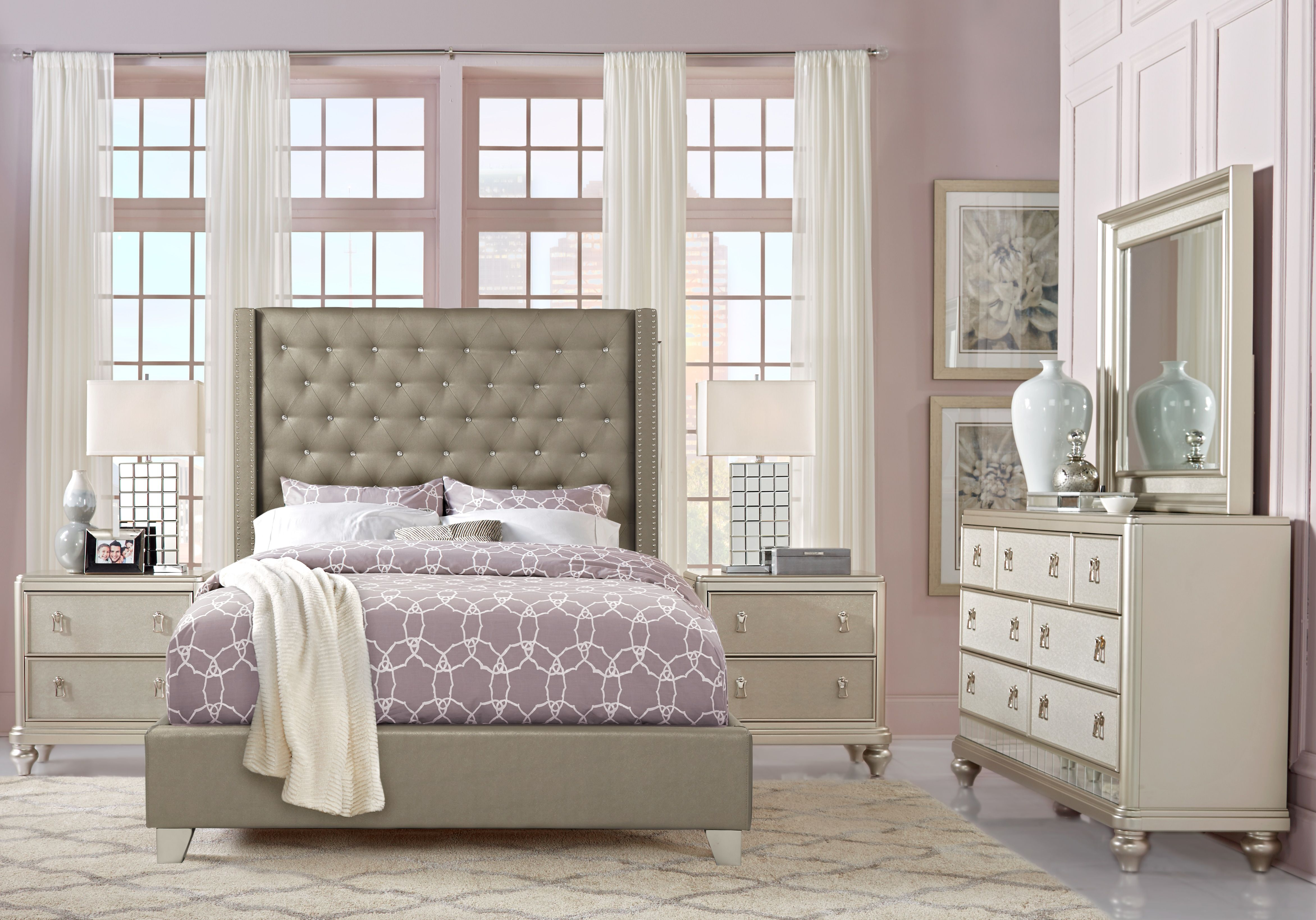 Sofia Vergara Paris Silver 7 Pc King Upholstered Bedroom