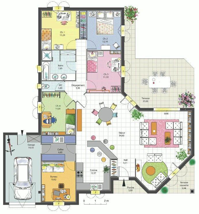 5 quartos Casa Pinterest House, Large house plans and Villa plan - plan de maison de 100m2 plein pied
