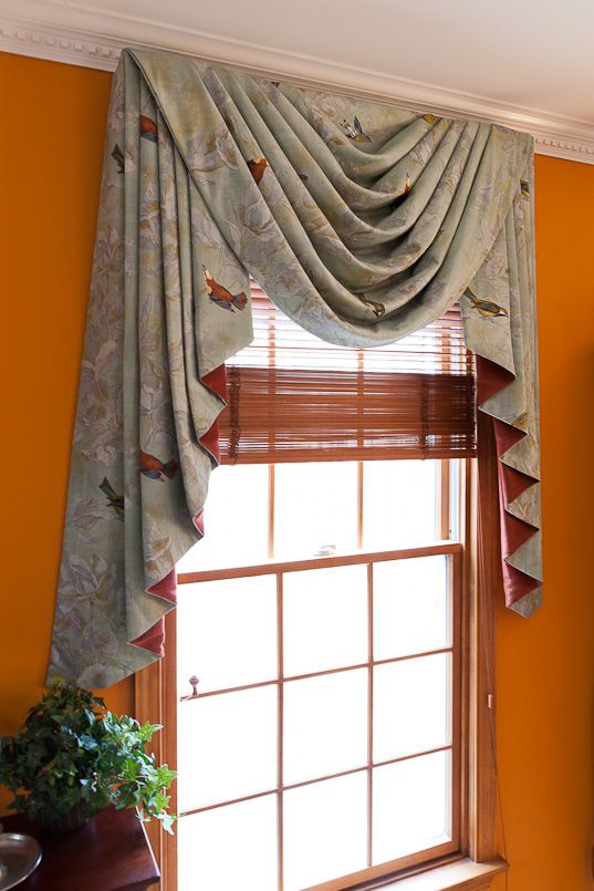 curtains with blinds white swag stacked jabots with contrasting lining window treatment solutions at sheffield furniture interiors
