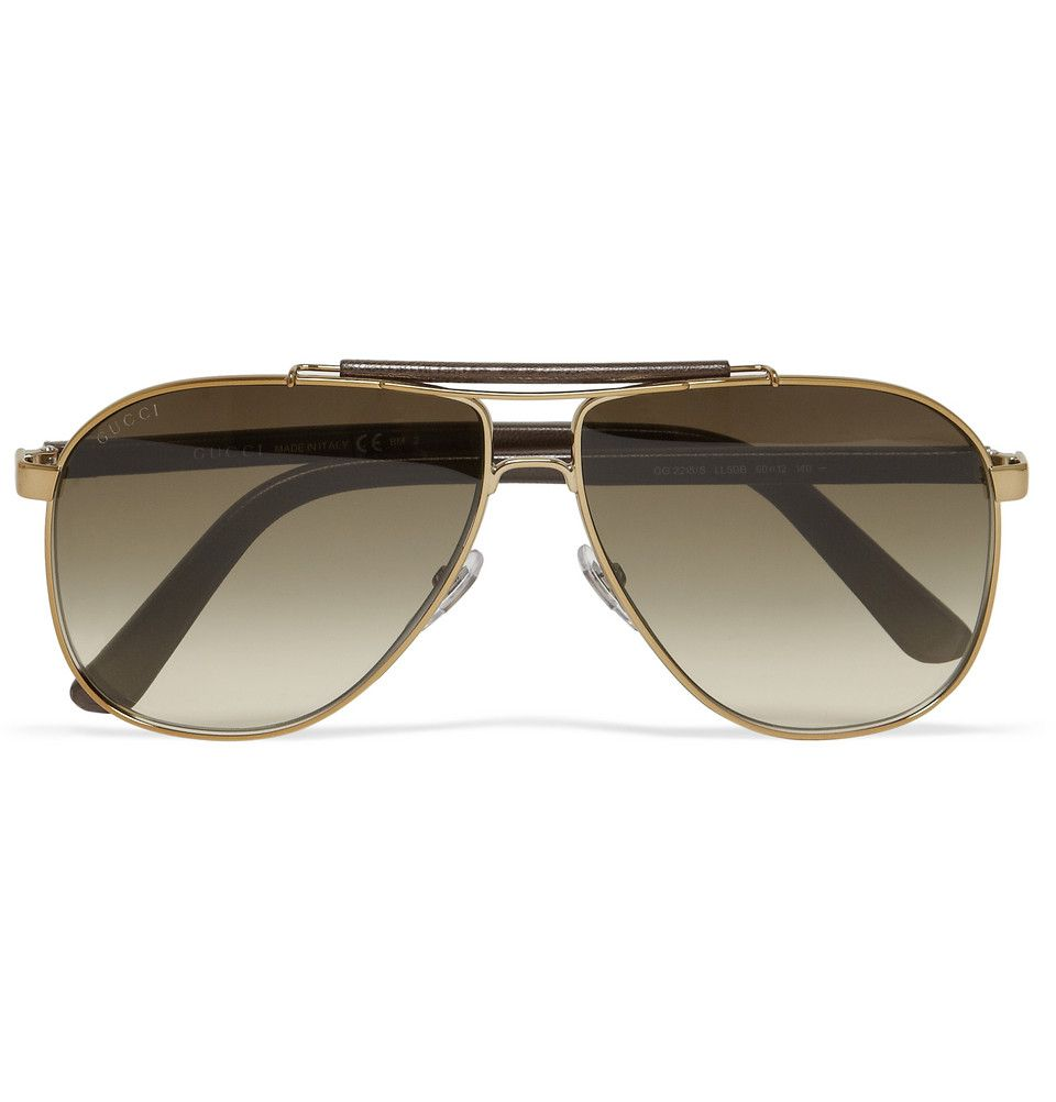 Gucci Leather and Metal Aviator Sunglasses  729251853e