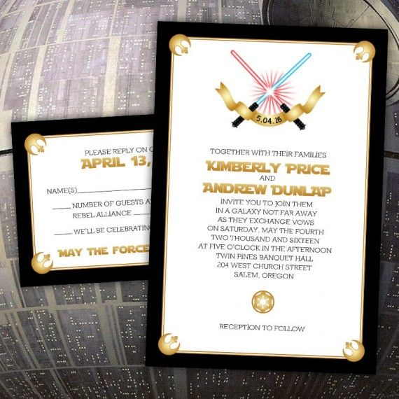 star wars wedding invitations | http://emmalinebride/star-wars, Wedding invitations