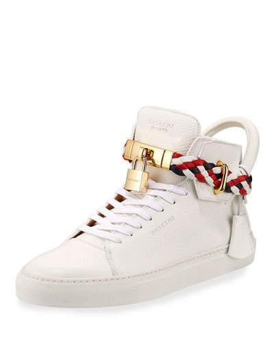 BUSCEMI Men'S 100Mm Leather Mid Top Sneaker With Woven Strap