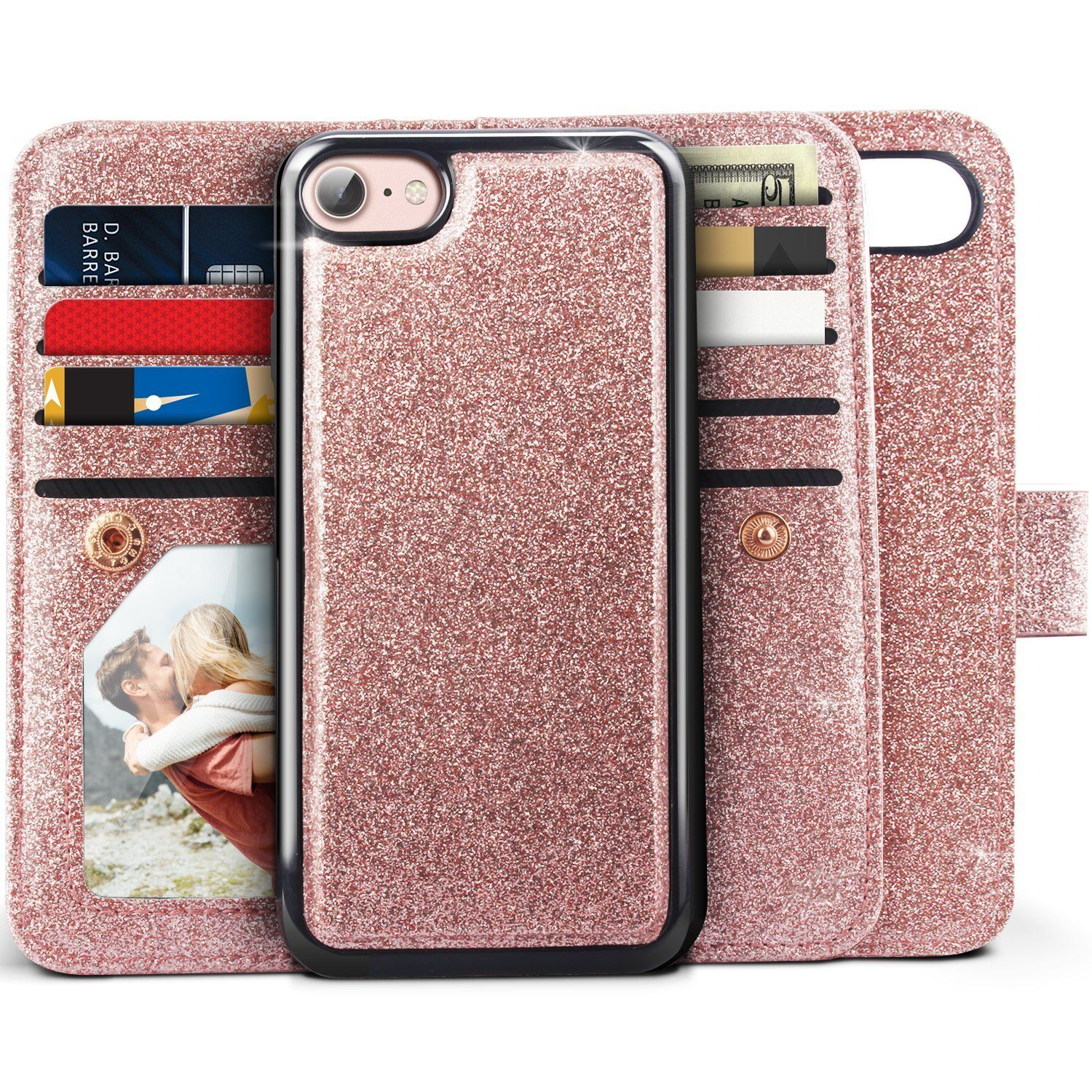 best service 2c3ca 5e951 iPhone 8 Wallet Case, iPhone 7 Wallet Case, Miss Arts Glitter ...