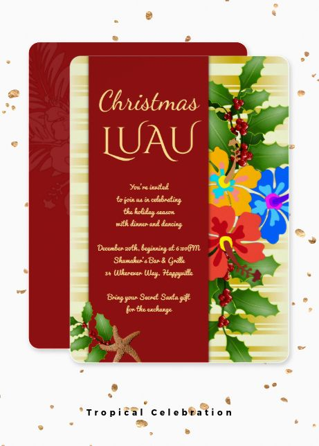Hawaiian Luau Christmas Party And Special Event Invitations With