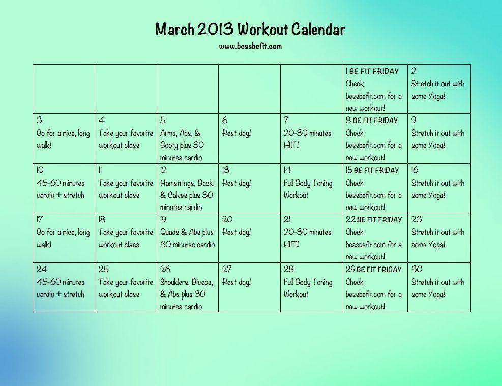 Bess Be Fit Fitness Pinterest Workout calendar, Workout and