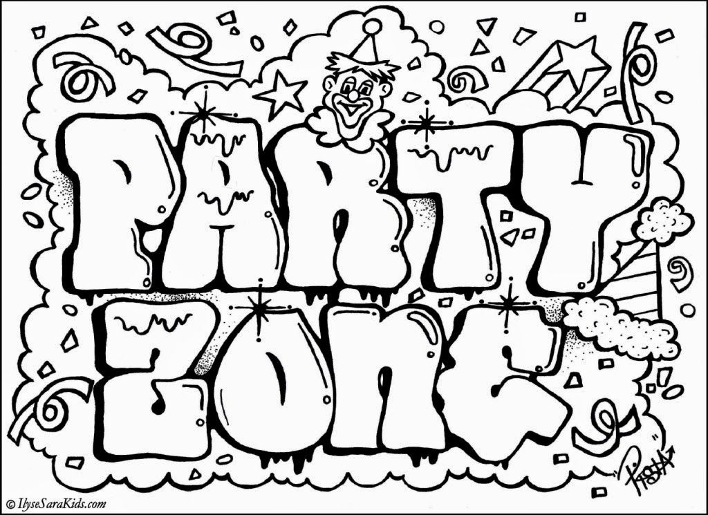 Party Zone Graffiti Design Coloring Jpg 1024 745 Cute Coloring Pages Cool Coloring Pages Coloring Pages For Teenagers