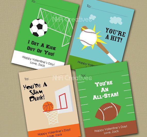 Valentine Printable Cards sports baseball soccer by polkaprints – Basketball Valentine Cards