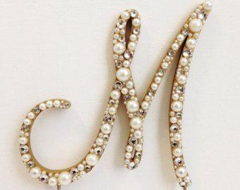 Rose Gold Peach Elegant Pearl Monogram Wedding Cake Topper Font 4