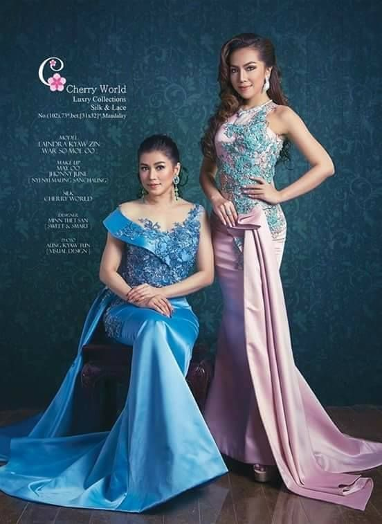 Eaindra Kyaw Zin And Warso Moe Oo Features Together In Cherry World Luxury Collection Silk And Floral Print Maxi Dress Myanmar Dress Design Traditional Dresses