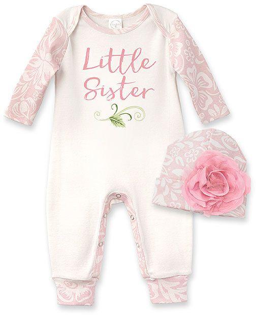 fd7158b64cb1 Ivory   Floral  Little Sister  Playsuit   Beanie - Infant