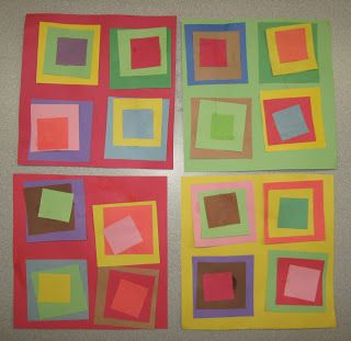 Preschool activity--construction paper and stick glue--Shapes and Colors