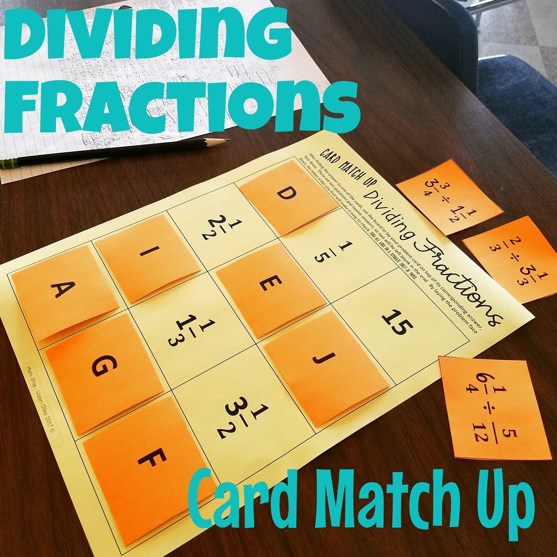 Dividing Fraction Card Match Up