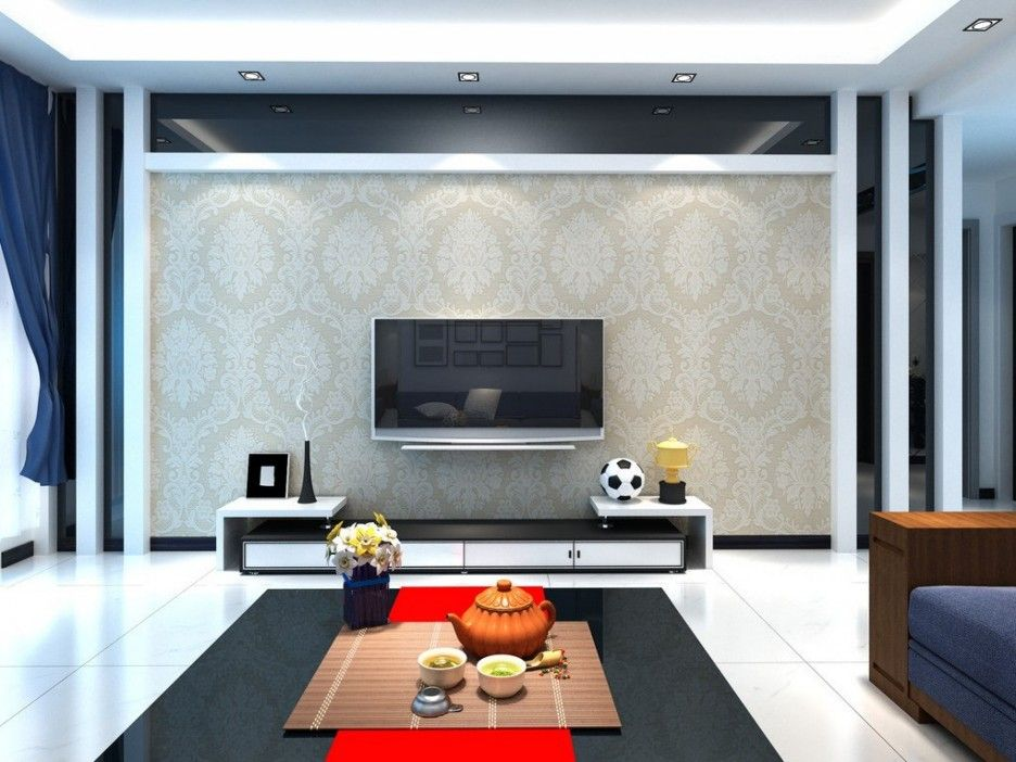Ordinaire Luxurious Living Room Design With TV On The Wall Ideas Finished With  Decorative Wallpaper Design And