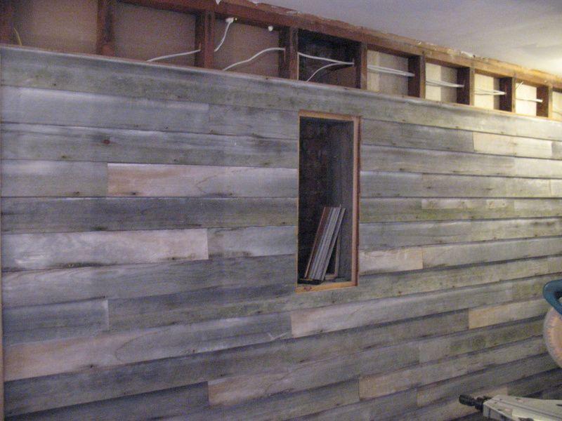installing barnwood   Barn wood, Barnwood wall, Wood wall