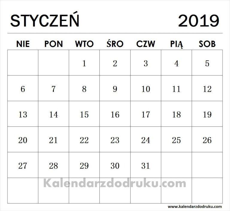 Edytuj Kalendarz Styczen 2019 I Pobierz Plik Pdf Szablony