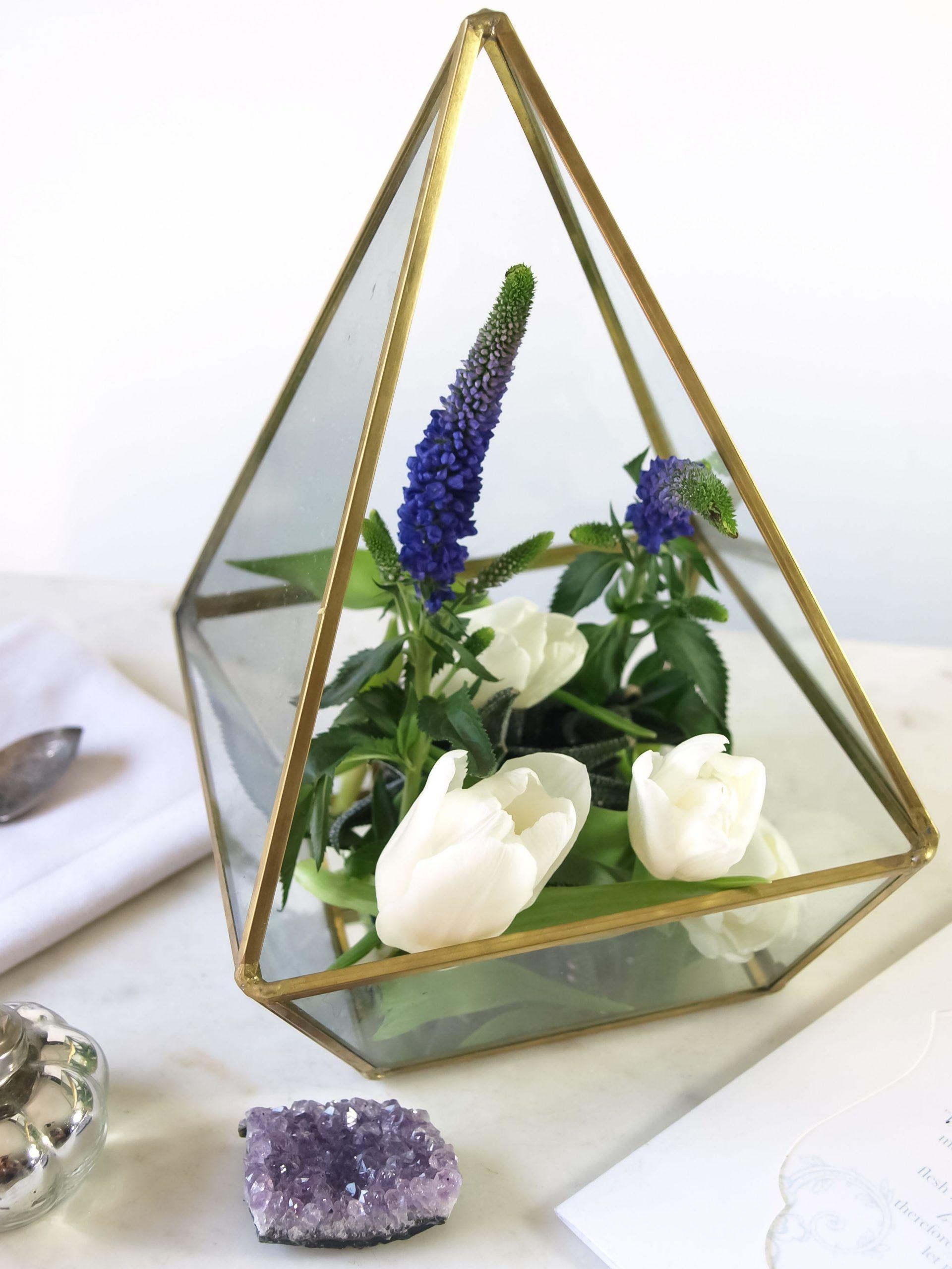 Large gold geometric wedding centerpiece, succulent
