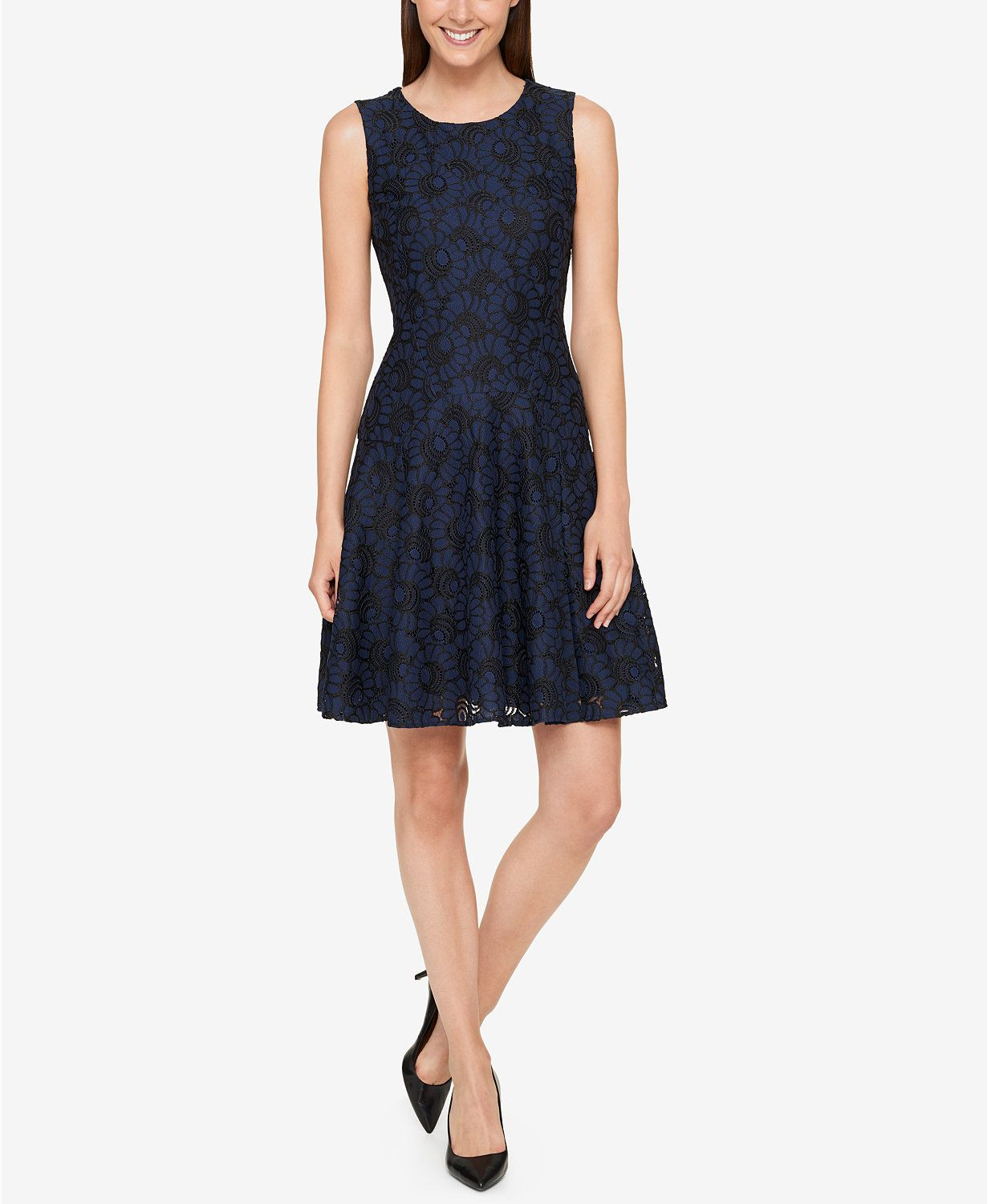 Tommy Hilfiger Lace Fit & Flare Dress | macys.com | dresses ...