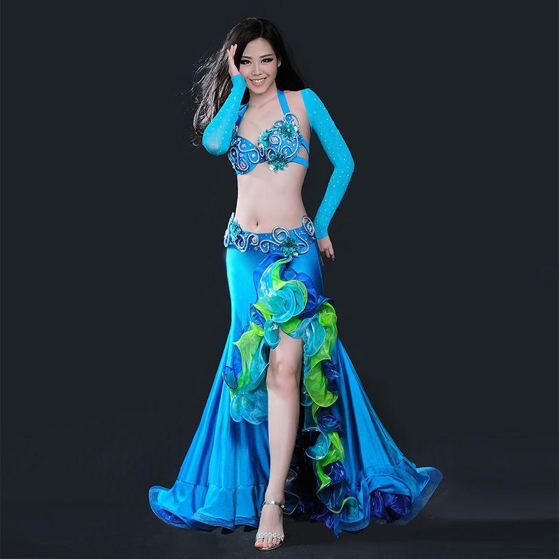 Belt Professional Performance Belly Dance Costume 2pcs Set Bra Top