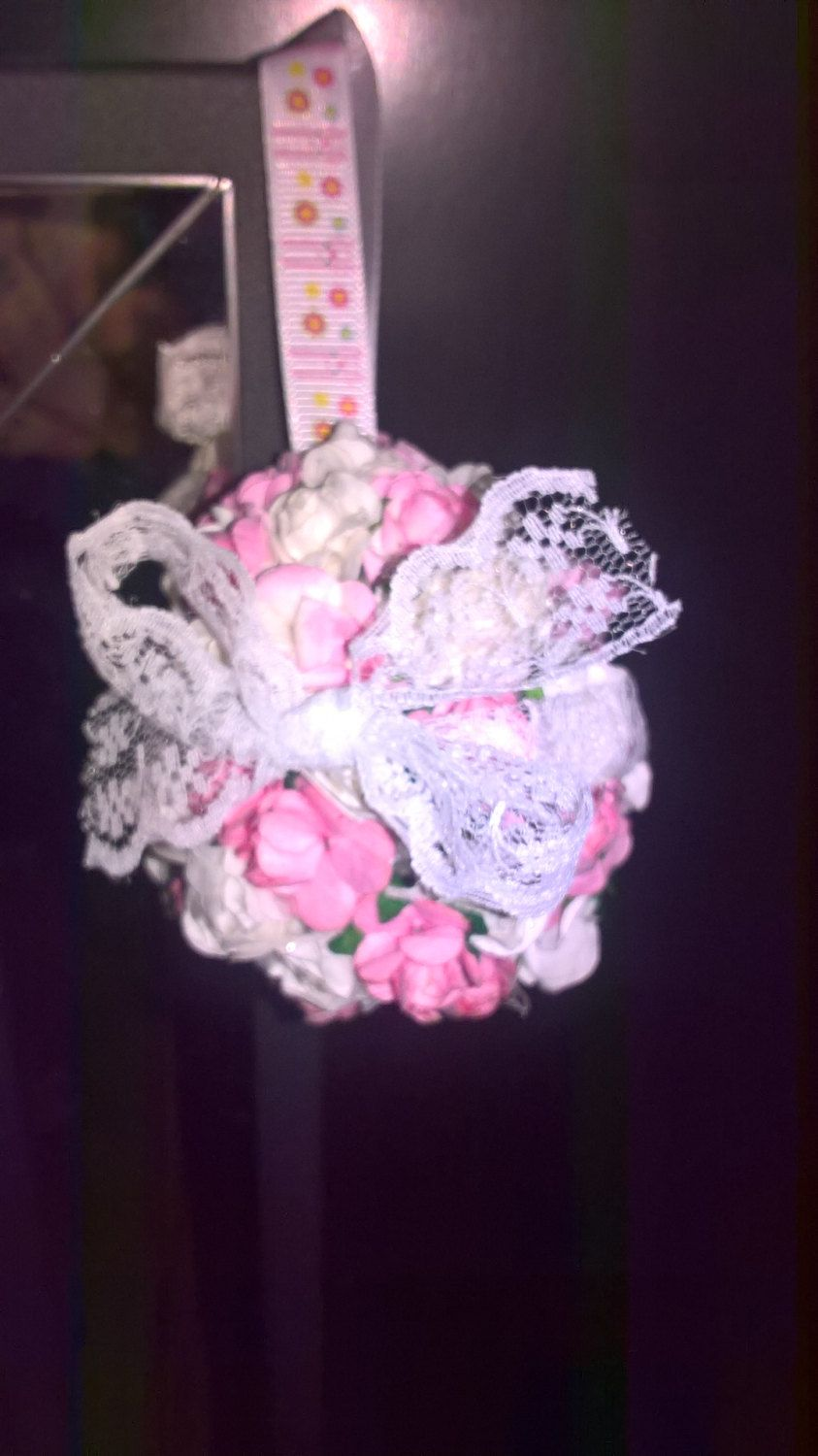 delightful pink and white flower easter egg hanging decoration! by PetitechicboutiqueGB on Etsy