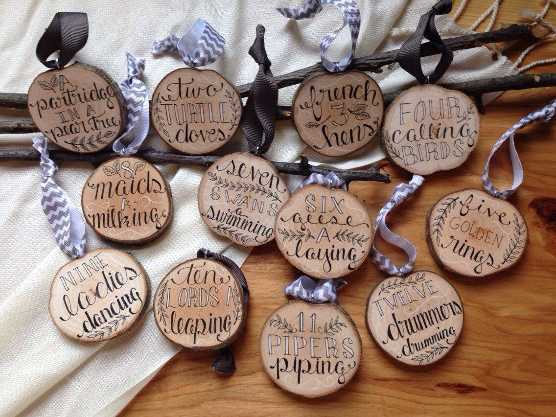 Rustic christmas tree ornaments - 12 Days Of Christmas Tree Slice Christmas Ornaments Set Of Tree Ornaments Black White Holiday Natural Wood Rustic Holiday Decor